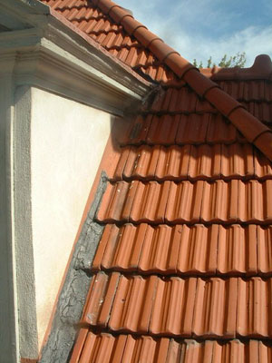 custom copper gutters and tile roof